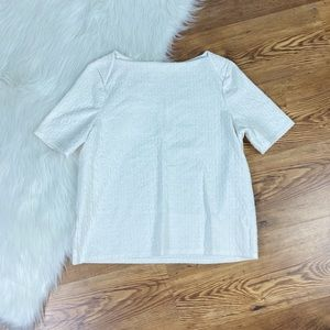Chicos | White Textured Short Sleeves Top, Size 1